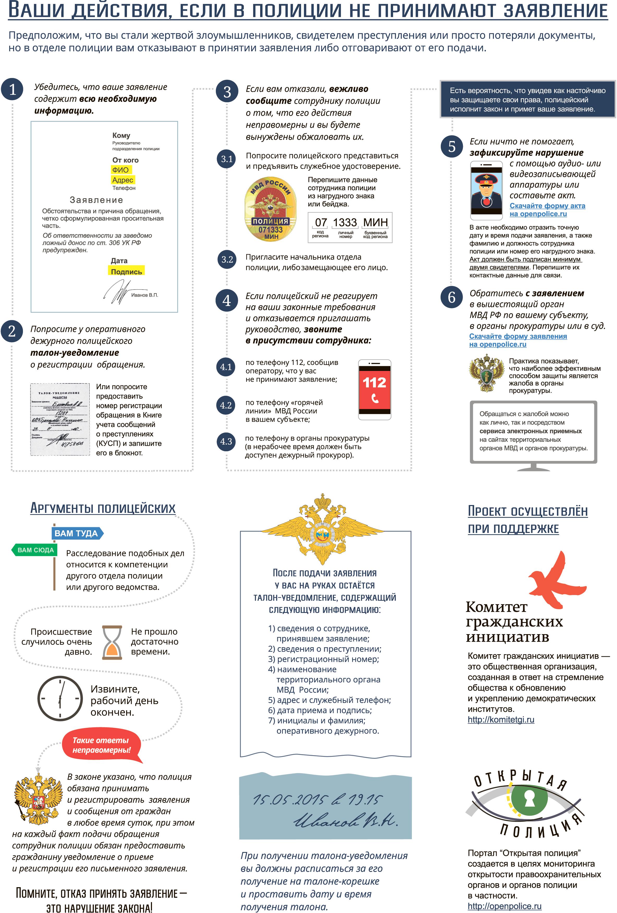 Инфографика {amp}quot;Что делать, если не принимают заявление в полицию?{amp}quot;